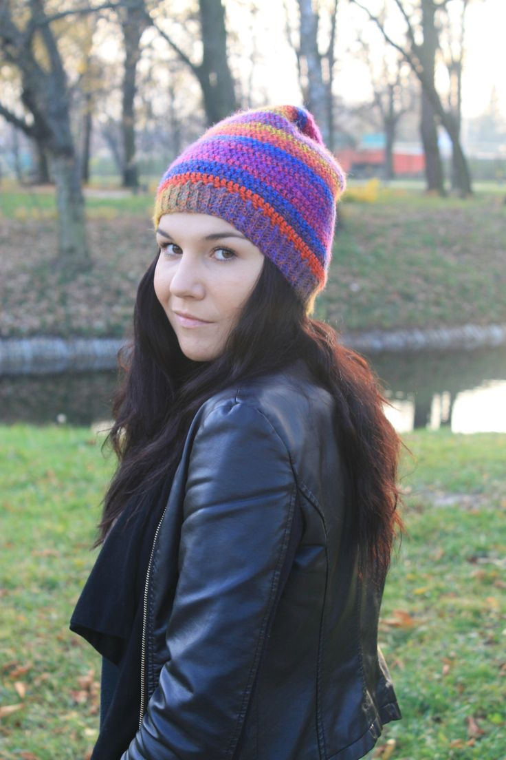 Crochet multicolour beanie.  I adore these colours, but this beanie is for sale!