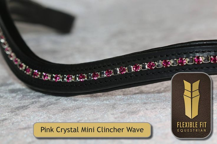 Mini Clincher Pink Crystal Wave English Leather browband - Black