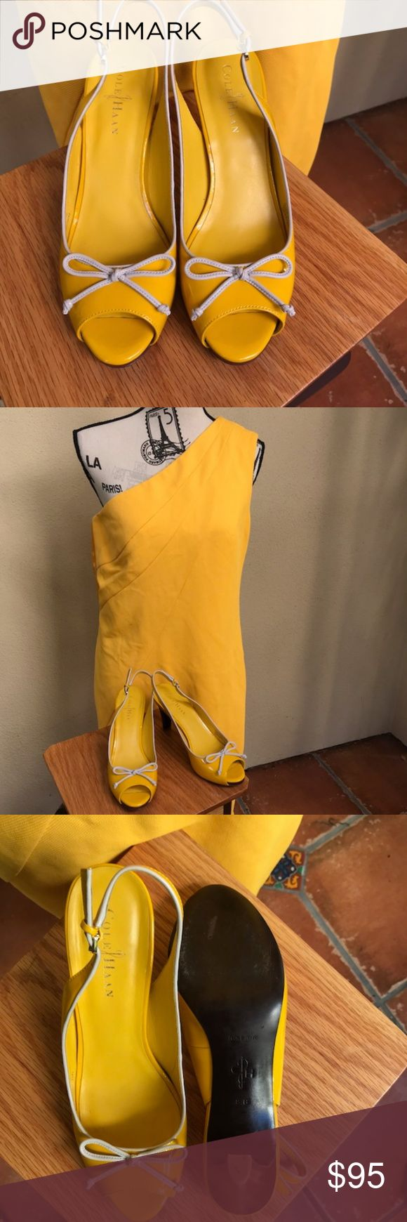 Cole Haan Yellow Patent Leather Peep Toe Slingback Absolutely adorable Cole Haan Slingback heels! These have been worn once. Pristine condition. They have a Nike Air footbed for more comfort. Patent Leather and Bow detail. Match Perfectly with Diane Von Furstenburg dress in my store! Cole Haan Shoes Heels