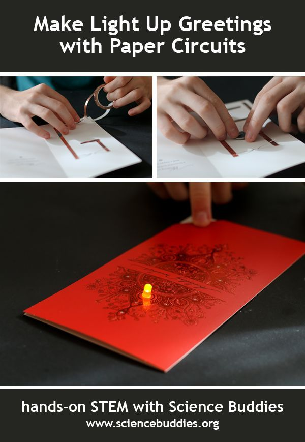 """Paper Circuits Bring Light to Seasonal Greetings"": With copper tape, LEDs, and coin cell batteries, students can transform ordinary greeting cards into fun light up cards. [Source: Science Buddies, http://www.sciencebuddies.org/blog/2015/12/paper-circuits-bring-light-to-seasonal-greetings.php?from=Pinterest] #STEM #scienceproject #holidayscience #paper #electronics"