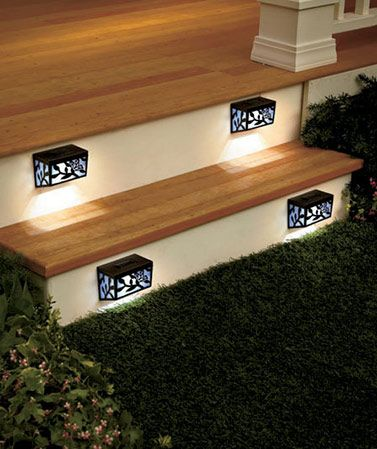 "This Set of 4 Solar Step Lights brightens your outdoor path with attractive accent lights. The colorful outdoor solar lights have a beautiful butterfly motif, and are perfect for decks, walkways and stairways. On/off switch. 5"" x 3-3/4"" x 2-3/4"", each. P"