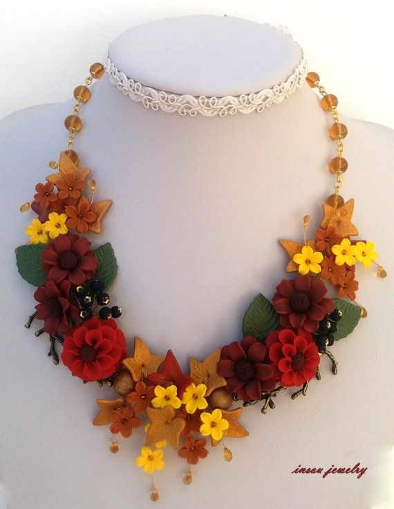 Flower Necklace Autumn Necklace Romantic Necklace by insoujewelry
