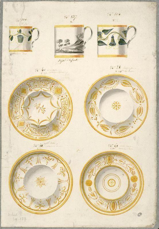 Anonyme France, 19e siècle Modèles de tasses litron de deux tailles et soucoupes aquarelle, 46,2 x 31,9 cm Les Arts Décoratifs, Paris, CD 5095.c