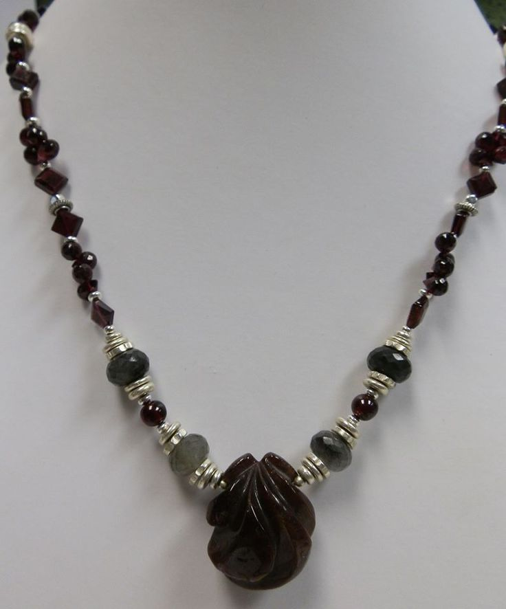 CANDON CREATIONS - Here's a fuller view of the beautiful garnet and labradorite necklace.