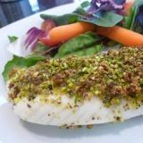 "Pistachio Crusted Fish - This recipe is for tilapia, but would work on any fish or even chicken. Use ""MRT tested"" herbs unless trying new ones in Phase 6 of LEAP diet. Fish, pistachio, garlic, basil, (thyme, rosemary - optional or Phase 6), salt, pepper, honey (or allowed sweetener)."