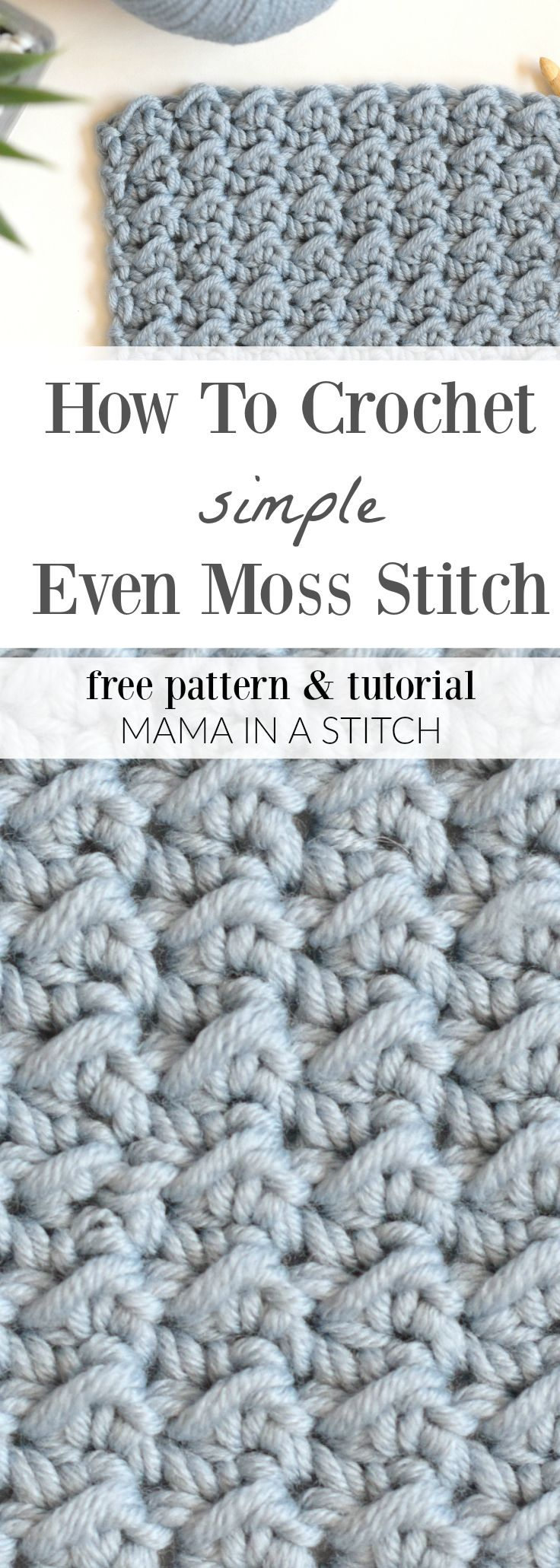 How To Crochet the Even Moss Stitch via @MamaInAStitch A pretty, free stitch tutorial. This shows you how to crochet an easy stitch with a gorgeous texture. Step by step photos and written pattern. #crafts