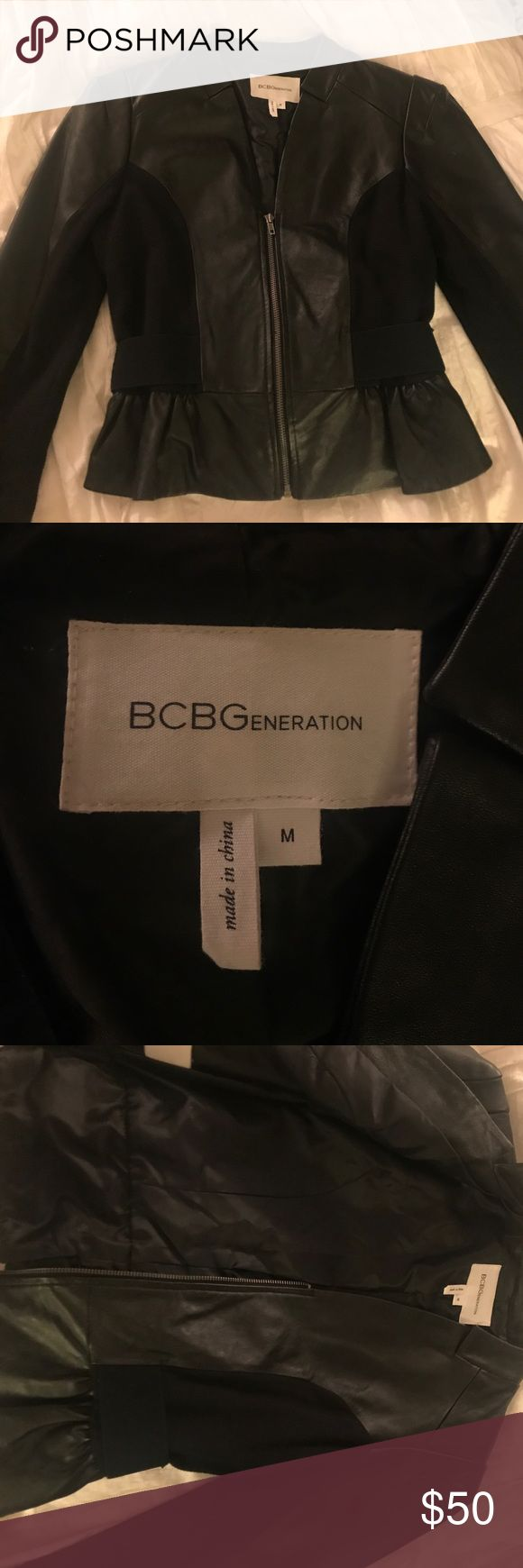 BCBGeneration Jacket medium size BCBGen jacket. Never worn. Was a gift. Has a flattering fit and stops at the top of hips in length . Little bigger in the shoulders! Cute for going out or in the work place! BCBGeneration Jackets & Coats