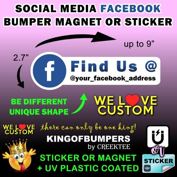 Facebook Your Custom Text Personalized 9 X 2 7 Etsy In 2020 Bumper Magnets Bumper Stickers Custom
