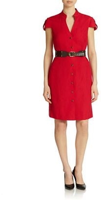 Tahari Arthur S. Levine Belted Shirtdress - Shop for women's Shirt - Poppy Red Shirt