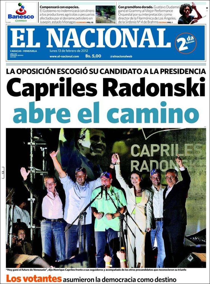 Portada El Nacional, Primarias 12F
