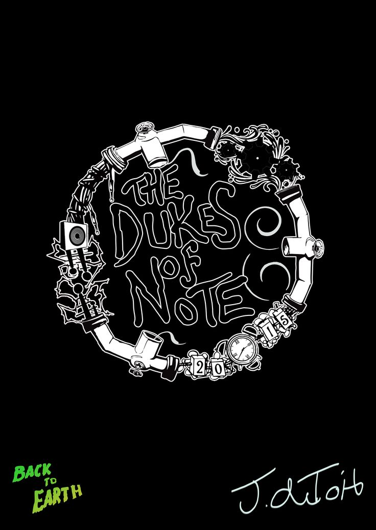 Logo for a band I made, currently working on a series of animated shorts.  You can check em out here. They are in the process of recording their first EP The Dukes of Note - https://www.facebook.com/thedukesofnote https://www.facebook.com/BackToEarthArtist