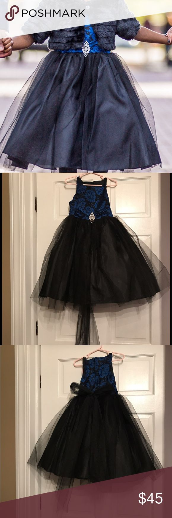 Kids Formal special occasion dress Black and Blue dress with tulle skirt Kids Formal Dresses Formal