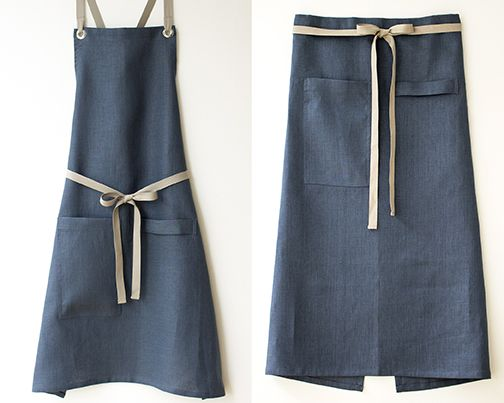 a sneak peek at our newest apron color: slate-blue linen.