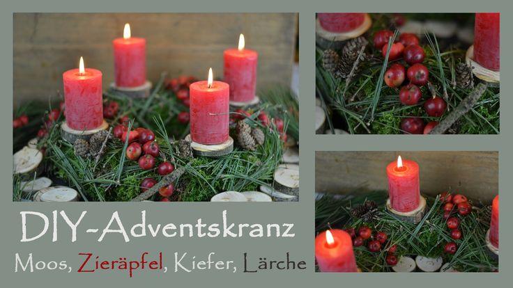 DIY- Adventskranz in Rot I aus Moos, Kiefernnadeln, Lärchenzapfen, Zieräpfeln, Holzscheiben