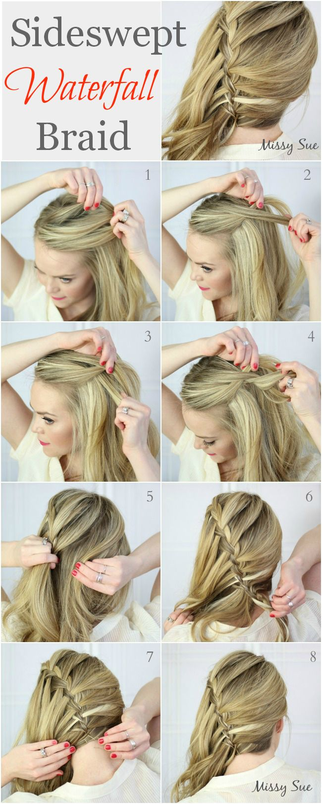 Find This Pin And More On Hair Tutorials Side Swept Waterfall Braid