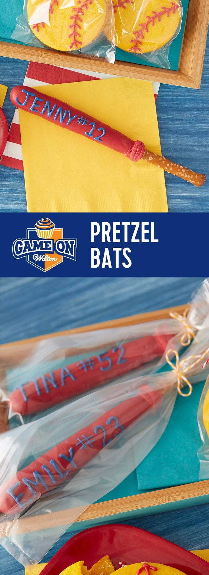 Easy Pretzel Bats for Baseball or Softball - Playoffs are around the corner! Here's how to extend the winning streak...decorate tasty pretzel bats and hide sprinkles inside ball cookies for the next playoff party!