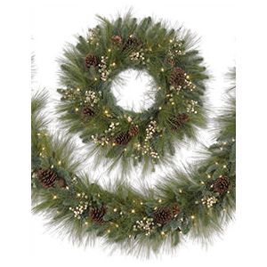 Our Merry Mixed Pine Wreath and Garland are perfect for those who love the look of a traditional Christmas.