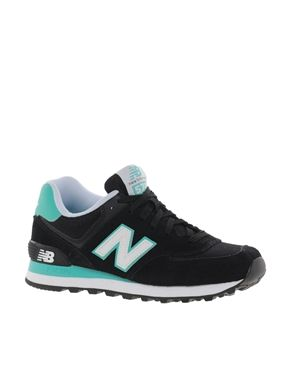 New Balance 574 Suede And Mesh Mint Stripe Trainers  I've been looking for a comfy pair of lounge shoes :)