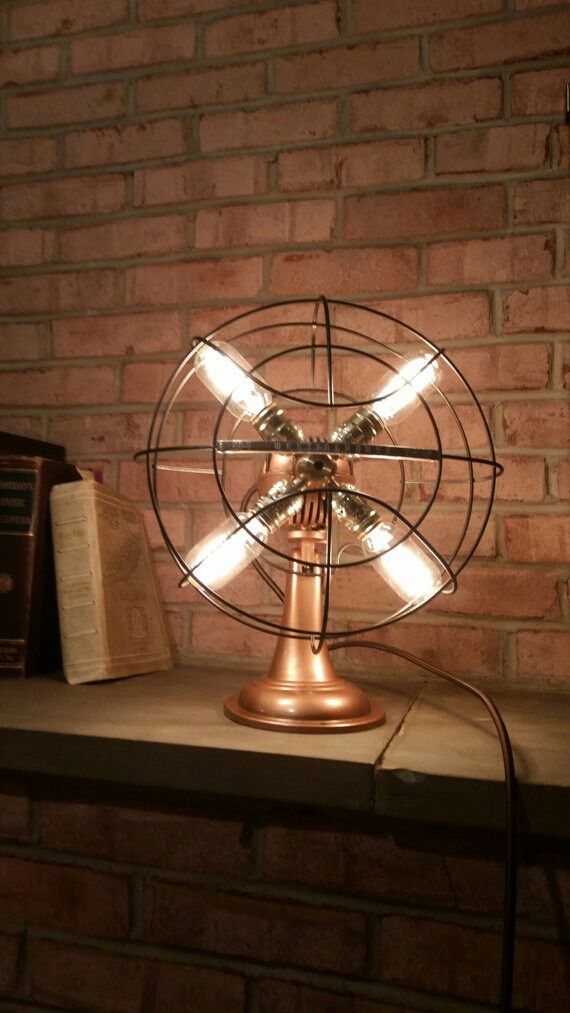 How Cool Is This Upcycled Fan Lamp Quot Diy Projects Quot Pinterest Industrial Ceiling Fans And