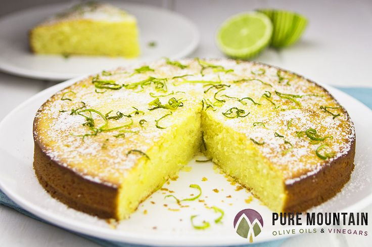 Light and Tart Lime Cake   Pure Mountain Olive Oils and Vinegars   www.puremountainoliveoil.com   No butter needed! This cake is light and fresh tasting; made amazing with Meyer Lemon Extra Virgin Olive Oil. The perfect summer dessert.   #extravirginoliveoil #meyerlemon #oliveoil #cake #limecake #keylimepie #pie #recipe #dessertrecipe