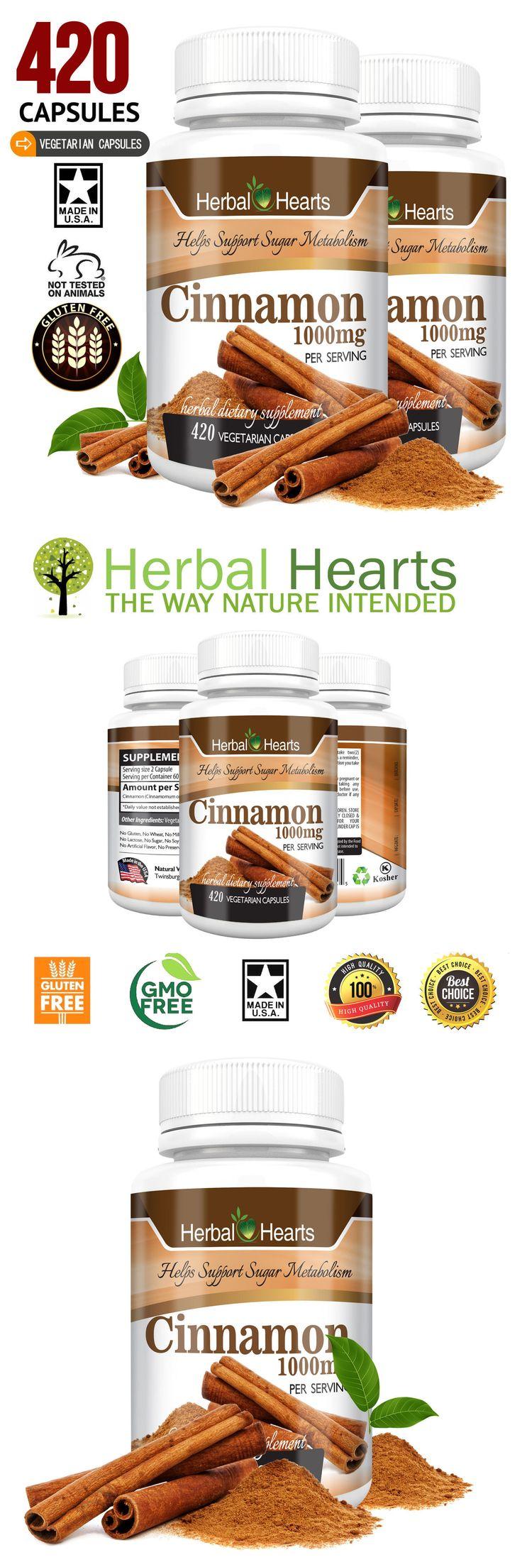 Herbs and Botanicals: Cinnamon Ceylon 1000Mg 420 Vegetarian Capsules -100% Organic! - Herbal Hearts BUY IT NOW ONLY: $37.99