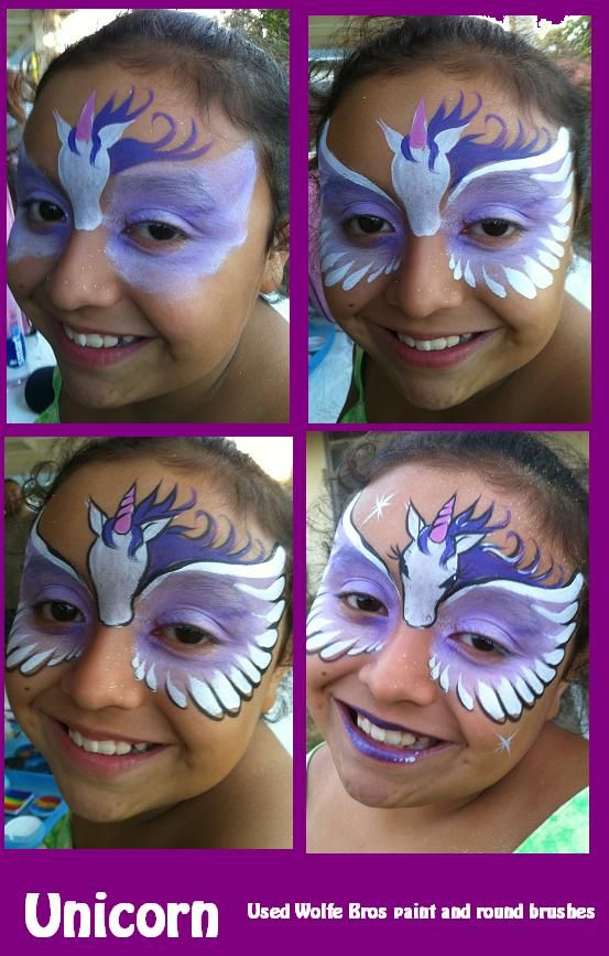 unicorn face paint mask girls half face animal