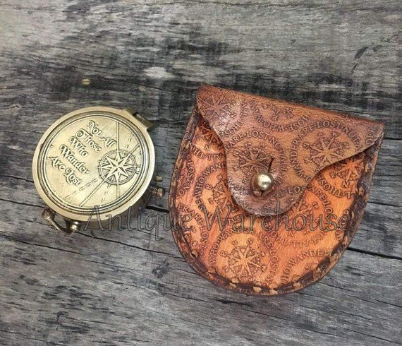 """R /""""Not all those/"""" J Tolkien Quote Brass Compass with Leather Case R"""