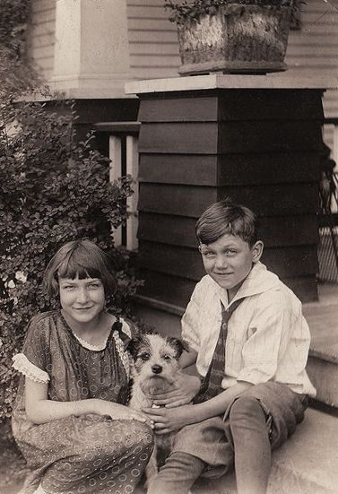 +~+~ Vintage Photograph ~+~+  Siblings and their pup