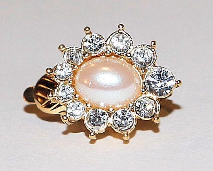 Pearl Clip-on Earrings w/ Rhinestones by GenusJewels on Etsy
