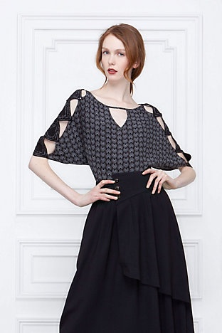 Unique and funky, but classy and retro at the same time. Love it.Anthropology, Well Dresses, Sleeve Blouses, Cutout Sleeve, Leifsdottir Blouses, Style Pinboard, Personalized Style, Products, Misi Blouses