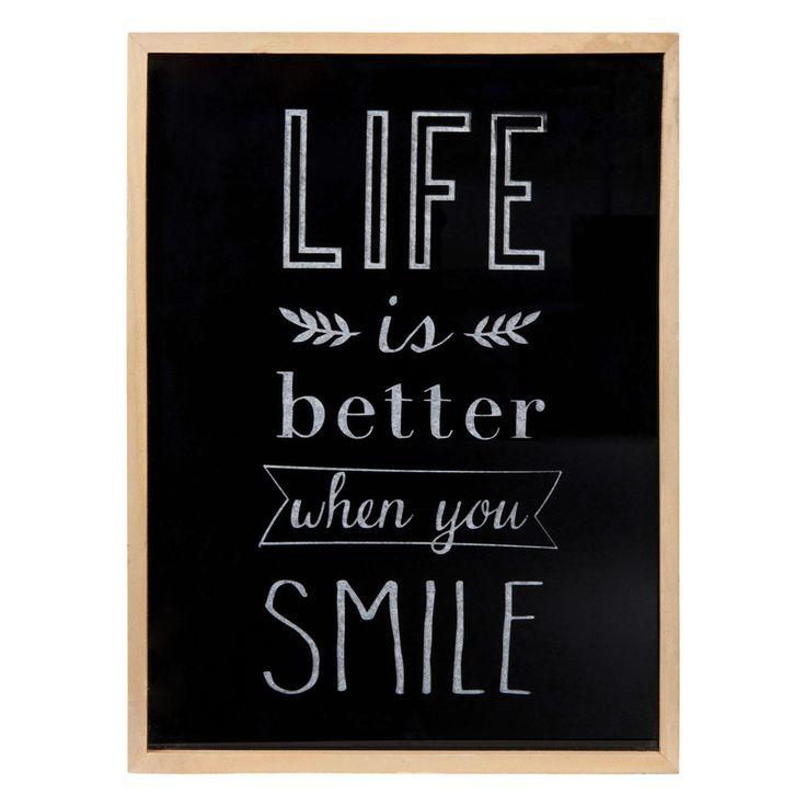 Tableau lumineux en verre noir/doré 30 x 40 cm LIFE & SMILE