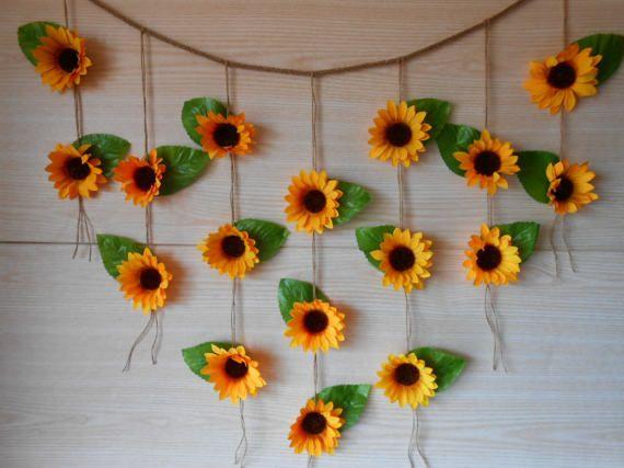 sunflower wedding decor sunflower garland bridal shower decor silk flower garland bridal shower garland flower wall backdrop bunting in 2018 wedding