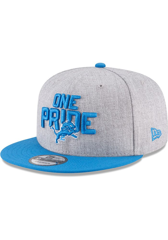 new arrival ef06f b097c New Era Detroit Lions Grey 2018 On-Stage Draft 9FIFTY Mens Snapback Hat