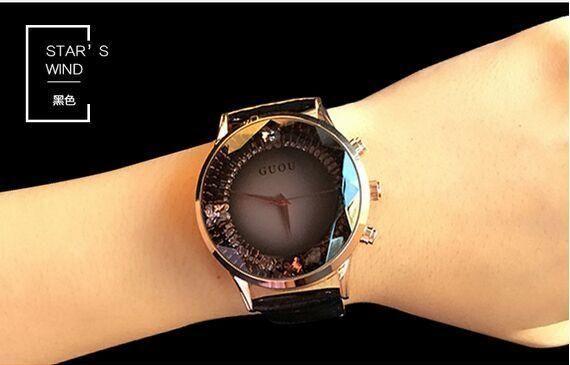 HK GUOU Brand Quartz Rhinestone Waterproof Women's Watch Genuine Leather Upscale Large Dial Luxury Wristwatches