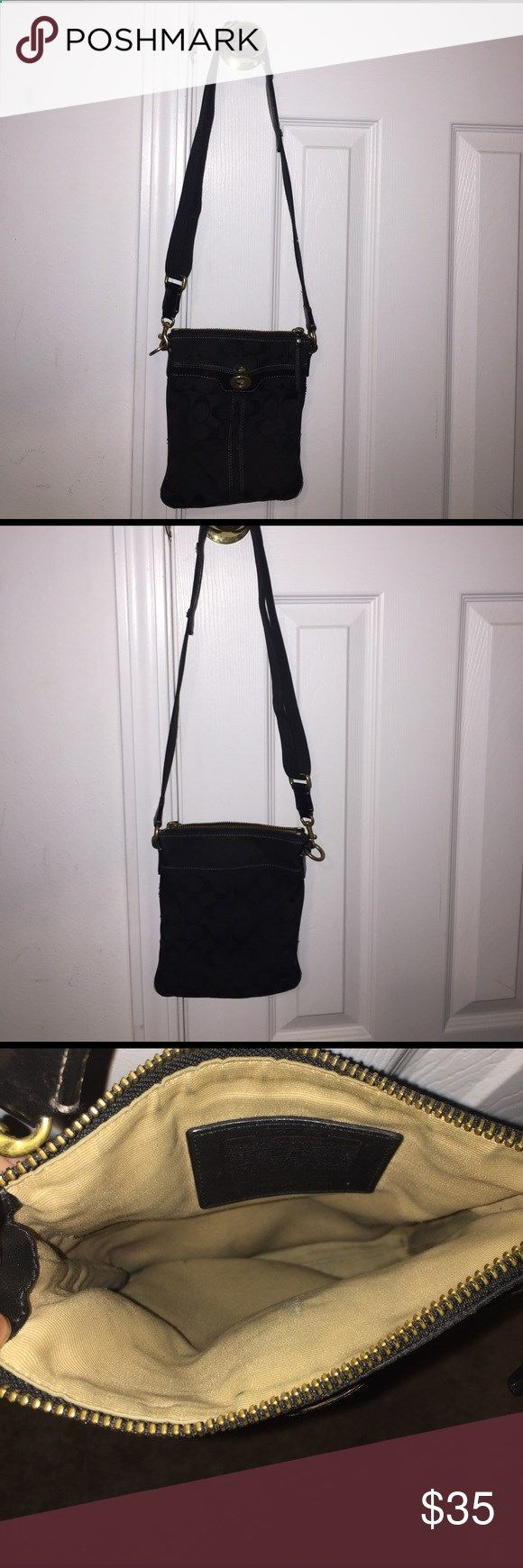 Black coach purse Used, the outside pockets have pen stains. Black coach purse. Coach Bags Crossbody Bags
