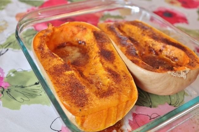 Baked Butternut Squash - Joyful Momma's Kitchen 1 butternut squash 2 Tbsp butter, melted 1/4 tsp salt 1/4 tsp ground cinnamon 1/4 tsp ground nutmeg 1/8 tsp ground black pepper 6 tsp brown sugar, divided Place squash in an 11X7 baking dish coated with cooking spray.  Cover and bake at 350 degrees for 40 minutes.  Uncover and bake 20-30 minutes until tender.