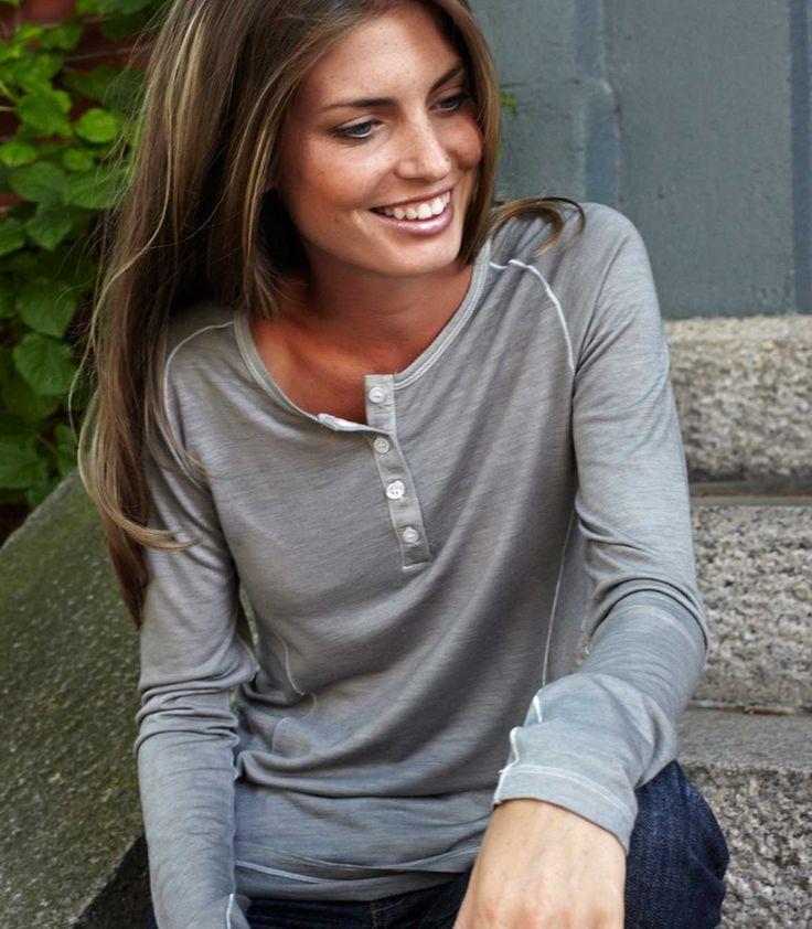 Women's Henley - Wool Long Sleeve Top - Made in America | Ramblers Way Farm