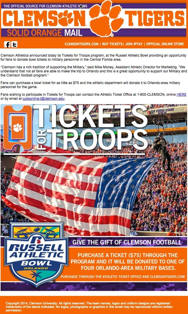 Clemson - Tickets for Troops promotion to donate bowl tickets to military.