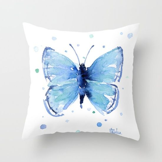 Blue Butterfly Watercolor Butterflies Insects Throw Pillow