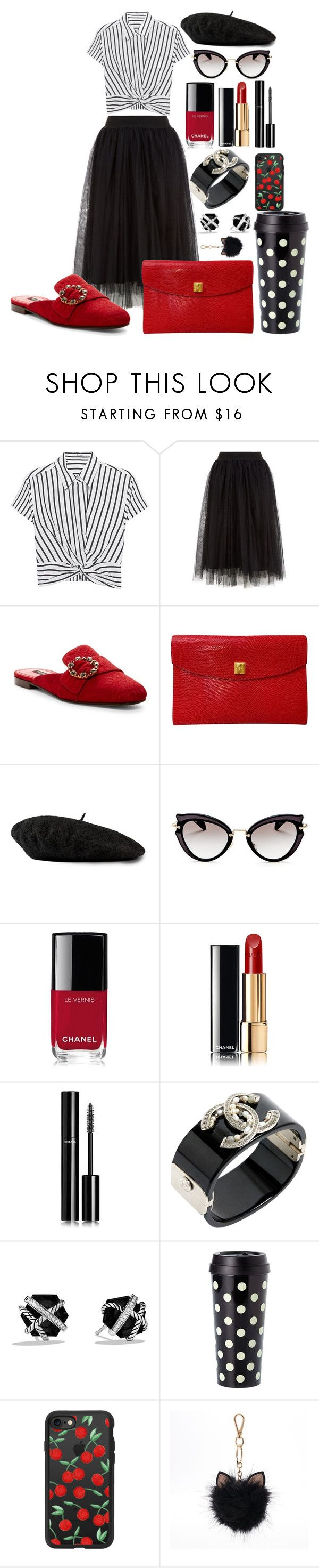 """Dressed for a Paris morning"" by pulseofthematter ❤ liked on Polyvore featuring T By Alexander Wang, Dolce&Gabbana, Hermès, Gucci, Miu Miu, Chanel, David Yurman, Kate Spade, Casetify and LC Lauren Conrad"