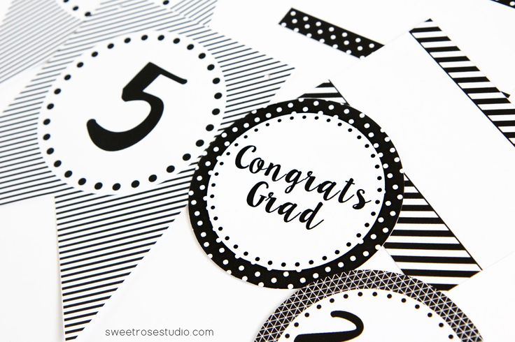 Black and White Graduation Party Printables 8