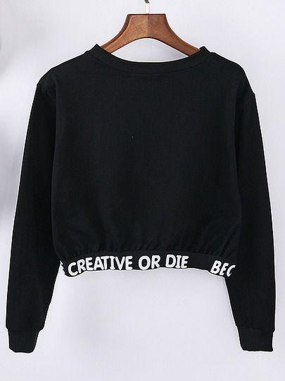 Black Letter Print Crop Sweatshirt -SheIn(Sheinside) Mobile Site