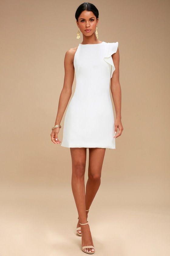 c928200b412 Dinah White One-Shoulder Dress