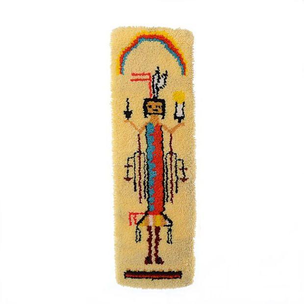 Vintage 70s Indian Yei Kachina Doll Shag Wall Hanging 1970s Hopi Figures Latch Hook Yarn Rug Wall Southwestern Kitsch MCM Home Hippie Decor