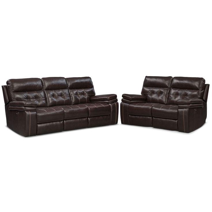 Brisco Power Reclining Sofa And Reclining Loveseat Set - Brown