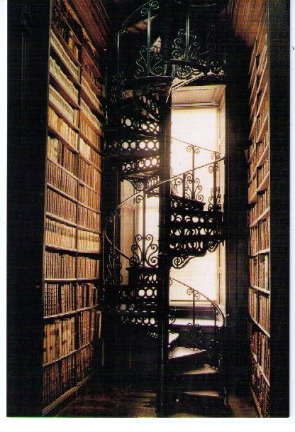 staircase...Dreams Libraries, Spirals Staircases, Spirals Stairs, Home Libraries, Trinity Colleges, Colleges Libraries, Book, House, Spiral Staircases