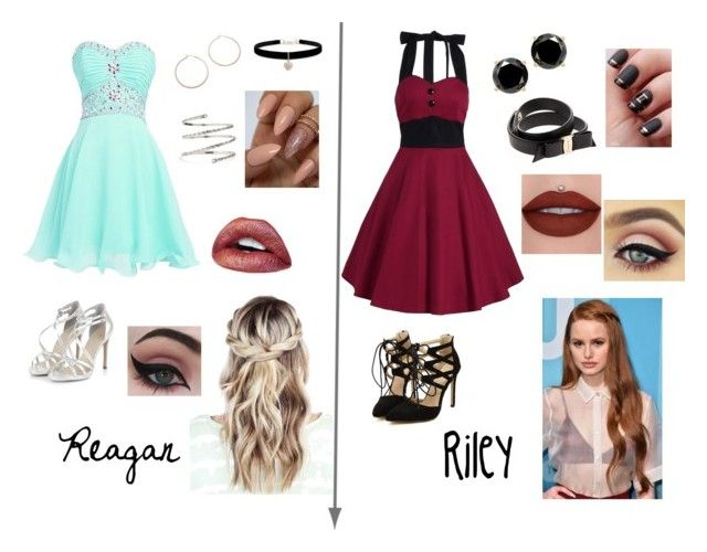"""""""Reagan and Riley's Dinner (ch.28)"""" by xrielle17 on Polyvore featuring Jennifer Zeuner, Betsey Johnson, Venus, Concrete Minerals and Salvatore Ferragamo"""