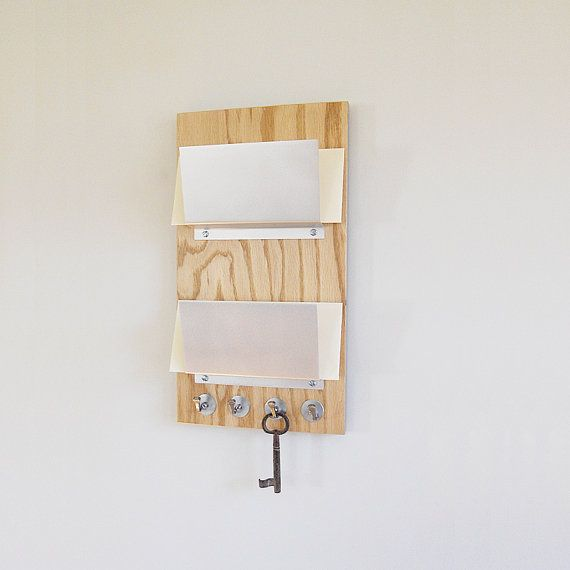 Wall organizer oak natural wood mail holder key rack by pigandfish him pinterest mail - Wooden letter and key holder ...