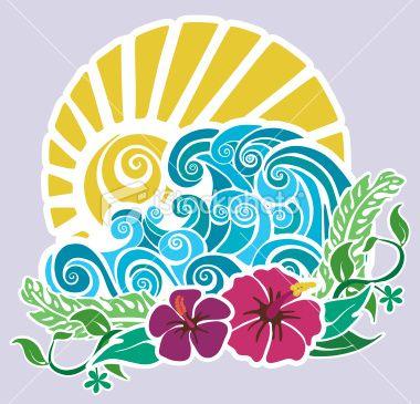 Hawaiian stencil Royalty Free Stock Vector Art Illustration #surfingtime