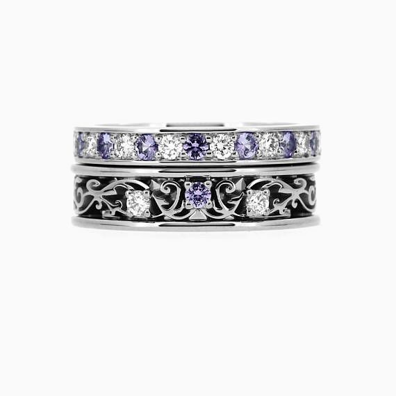 Torkkeli Filigree ring set with Lavender Sapphires